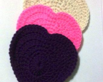 Destash - Grab bag 5, 3 Hearts, Appliques, Embellishments, Acryllic, Crochet Hearts,