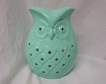 Owl Garden/Kitchen Candle Holder Mint Green