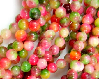 60 Jade beads rose brown green earth tones 6mm gemstone beads opaque dyed beads HP-XH19 (K7),
