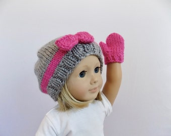 Doll Hat and Mittens Set, 18 Inch Doll Clothes, Doll Accessories, Toys, Knit Doll Clothes
