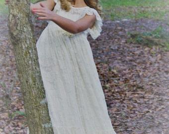 Flower Girl Dress-lvory Lace Short Sleeve Dress- Baby Flower Girl Dress- Dresses- Ivory Girls Dress-Cream Dress- Rustic Wedding Dress