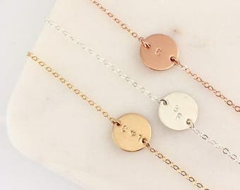 Rose Gold Initial Disc bracelet - rose gold filled personalised jewelry
