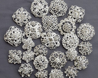 24 pcs Silver Rhinestone Brooch Crystal Brooches Wedding Invitation Cake Decoration Brooch Bouquet Kit Wholesale Lot BR679