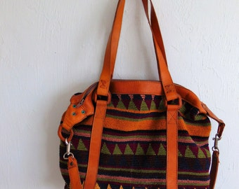 80s Tribal leather and kilim shoulder bag from Guatemala