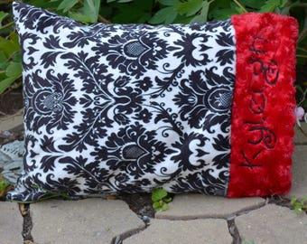 Personalized Dynasty Minky Pillow, Red Minky, Toddler Pillow, Travel Pillow, Crib Pillow,Pillowcase
