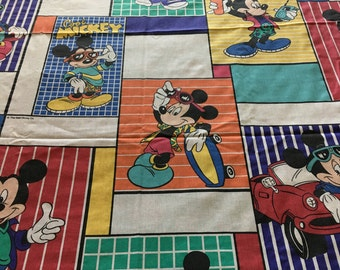 Cool Mickey Disney TWIN FLAT Sheet - Reclaimed Bed Linens