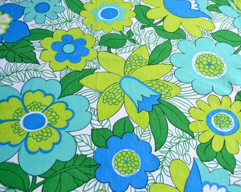 Vintage Tablecloth - Mod Floral in Green and Blue - 50 x 64