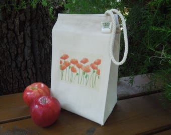 Recycled cotton lunch bag - Canvas lunch bag - Picnic lunch bag - Poppies