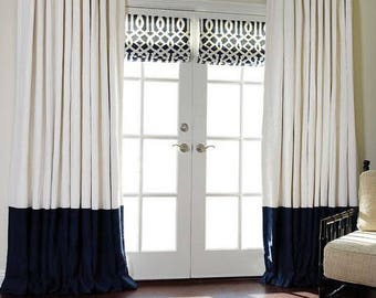Choose your own colors,  colorblock cotton drapes, Flat rod pocket drapes, white navy blue, white and black, two tone drapes