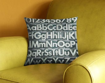 Vintage Metal Type Alphabet Pillow Cover - vintage typography - alphabet letters pillow case - 2-sided printing
