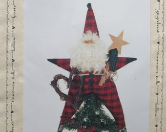 Christmas Wishes/Craft Sewing Pattern by Katie's Homespun Stitches/1994/16 in Star Santa/Christmas Decoration/Tree Topper/Ornament