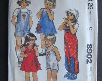 McCalls 8902/Uncut Sewing Pattern/Children's Jumpsuit, Romper, Jumper, Purse, Toy, Appliqué/Size 4/1984