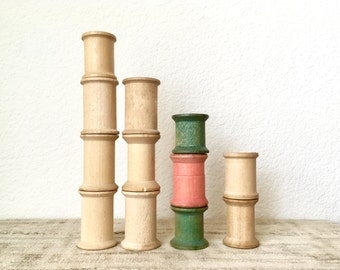 Vintage Wooden Spools, Set of 12