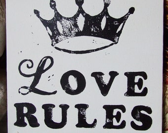 Love Rules Block Printed Canvas