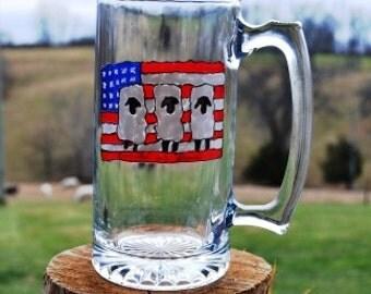 Glass Patriotic Sheep Mug -24 ounce