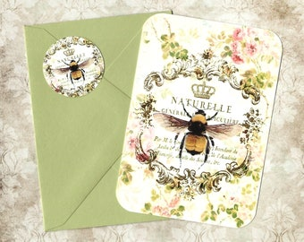 Note Cards, French Bee, Abeille, Crown Bee, Stickers, Blank Note Cards, Gift