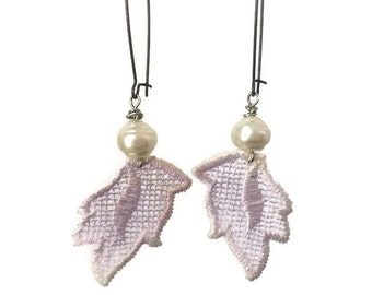 ON SALE Womens Lavender Purple Lace Leaves Earrings with Vintage Pearls on Long Kidney Wire Earring Hooks