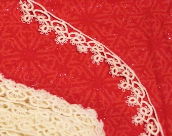 TATTED EDGING 5/8 inch x 9 1/2 yards Tatted Trim Lace Handmade