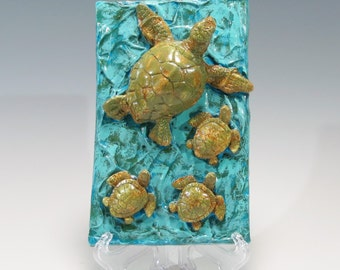 Hand Built Sea Turtle Tile Ceramic Tile Sea Turtle and Babies Sea Turtle Hatchlings Sea Turtle Ocean and Sand Sea Turtle Wall Hanging