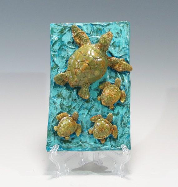 Hand Built Sea Turtle Tile Ceramic Tile Sea Turtle And Babies