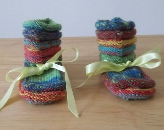 Baby Booties - Handknitted Little Socks for Babies - Mix of Shades of Red, Blue, Green and Yellow
