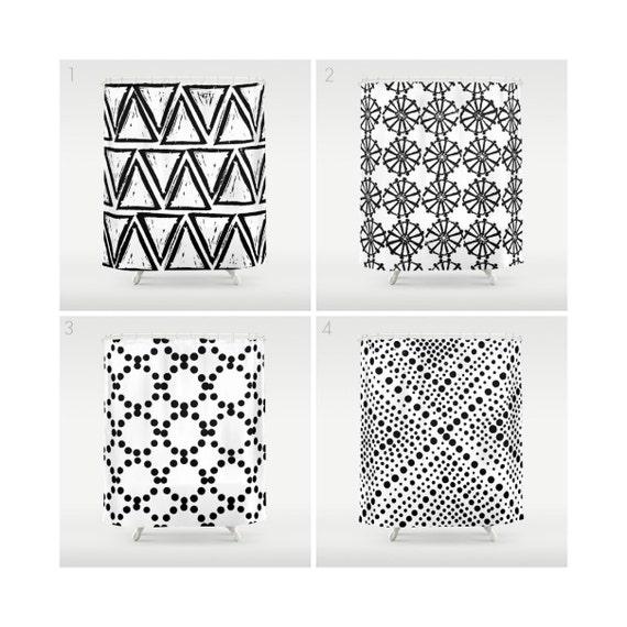 White Shower Curtain - Geometric Shower Curtain - Modern Shower Curtain - White Shower Curtain - Triangle Shower Curtain - Black and White