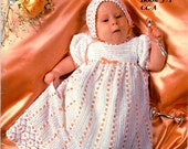 Heirloom Baby Collection Crochet Christening Gown Bonnet Booties Lace Edgings Curtains Valance Southmaid Craft Pattern Leaflet 371