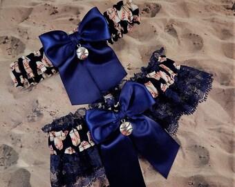 Baseball Navy Blue Satin Navy Lace Baseball Charm Wedding Garter Toss Set