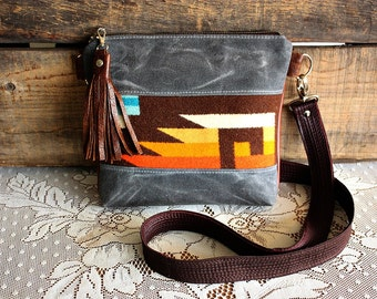 Crossbody Oregon wool Purse with leather trim Navajo SMALL purse handbag---Ready to Ship