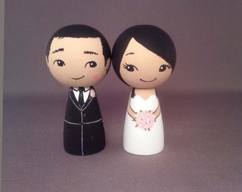 Kiss on Cheek Wedding Cake Toppers Asian Finished Ready to Send
