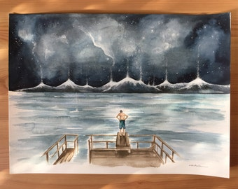Original Watercolour Painting 11x15 'To Jump or Not to Jump'