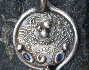 Solid Silver Pendant W/Sapphires - Ancient Persian Style