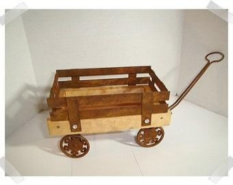 Rusty Tin/Wood Wagon/ Small/ Home Decor/Craft Supplies*