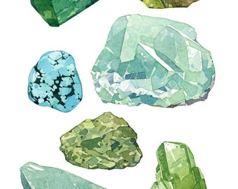 Green Minerals Watercolor Print, gems and crystals art print 5x7