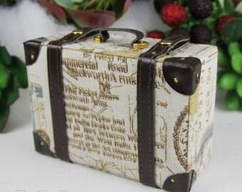 Doll BJD Dollfie Vintage Leather Miniature suitcase Trunk Bag - Map