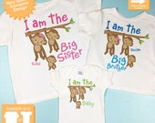 Sibling Monkey Shirt Set, Set of Three, Big Sister Shirt, Big Brother, The Baby, Personalized Shirt or Onesie (01312014d)