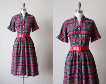 50s Dress - Vintage 1950s Dress - Red Green Blue Plaid Cotton Full Skirt Shirtwaist Dress S M - Christmas Cookies Dress
