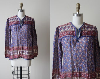Vintage 70s Indian Cotton Top - 1970s India Festival Tunic Gauze Cotton Blouse - Deadstock - Mulberry Blue Top