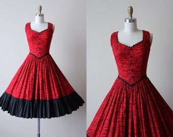 1950s Party Dress - Vintage 50s Dress - Red Black Novelty Print Tiger Stripe Circle Skirt Dress S - Can-Can Dress