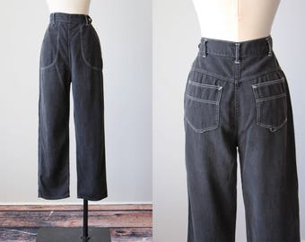 50s Jeans - Vintage 1950s Pants - Rare Black Denim Cotton High Waist Side Zip Bombshell Pants S M - State to State Dungarees