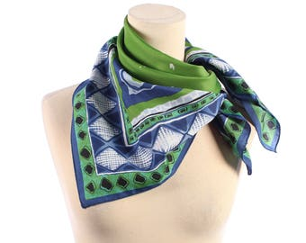 ABSTRACT Print 70s Scarf .  Tribal Aztec Navajo Printed Geometric 1970s  Lime Green Blue Vintage Unisex Neck Scarf Women Gift