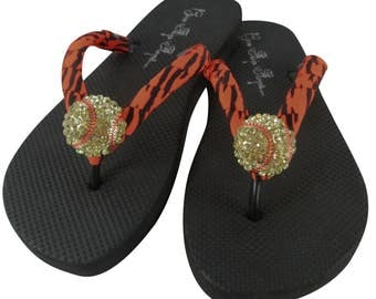 Softball Flip Flops - Orange Zebra Ribbons or any colors to match teams, or school- moms and girls