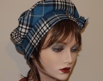 Blue and White Tartan Tam, Ladies Tartan Tam, Scottish Tam
