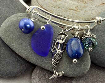 Sterling Silver Adjustable Charm Bracelet with Rare Cobalt Blue Genuine Sea Glass