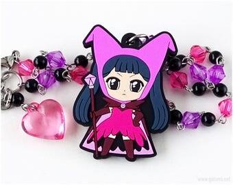 Cardcaptor Sakura Meiling Li Anime Necklace, Purple, Black, Hot Pink, Beaded Chain, Magical Girl, Anime Gifts