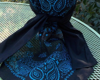 BLACK and Turquoise BANDANA Print XLONG Sweatband Dorag
