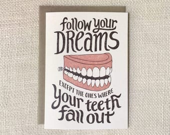 Funny Graduation Card, Congratulations Card - Follow Your Dreams