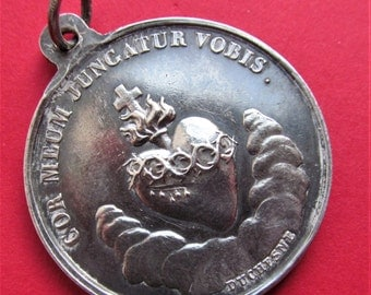 Virgin Mary Antique French Silver Religious Medal Sacred Heart Signed Duchesne   SS472
