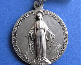 Antique French Silver Miraculous Virgin Mary Medal Signed Ruffony