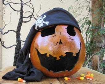 Halloween Gourd Pirate Jack O Lantern Primitive Pumpkin Decoration